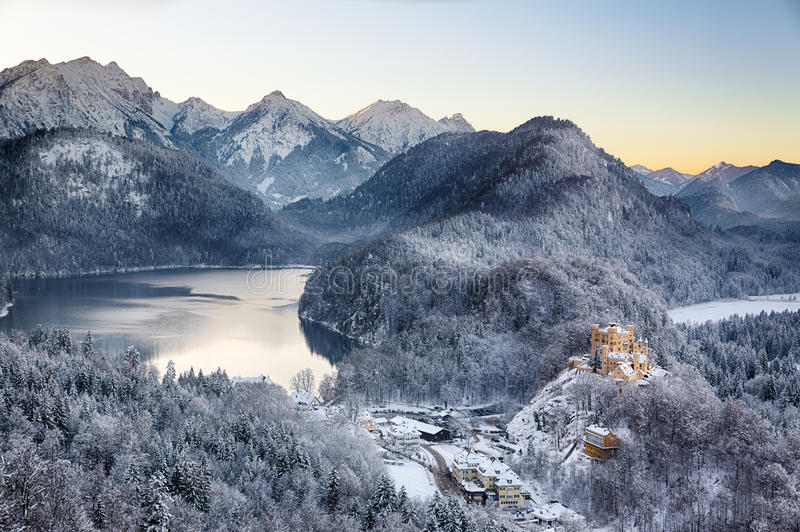 Hohenschwangau Castle at wintertime, Alps, Germany stock photo