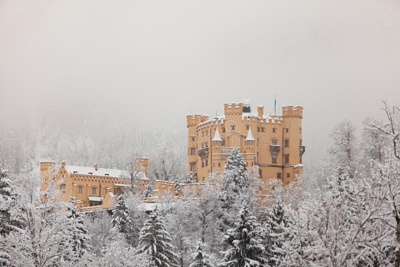 Hohenschwangau kasztel w zima krajobrazie fotografia royalty free