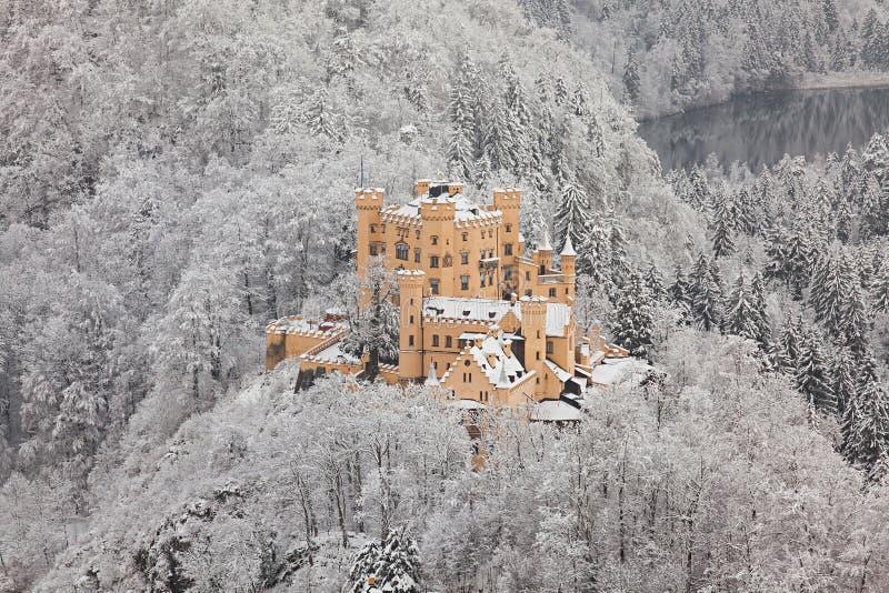 Hohenschwangau kasztel w zima krajobrazie zdjęcie royalty free