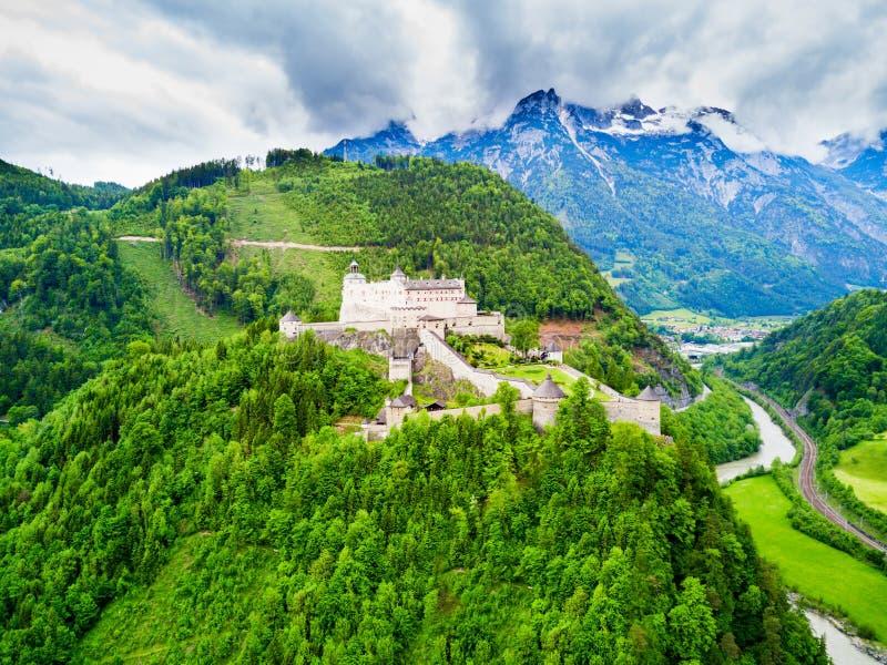 Hohenwerfen城堡鸟瞰图 免版税库存图片