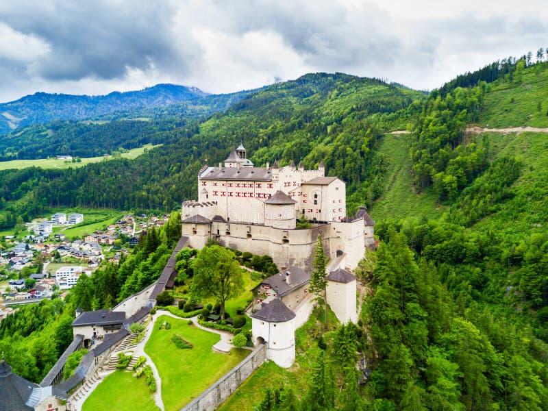 Hohenwerfen城堡鸟瞰图 免版税库存照片
