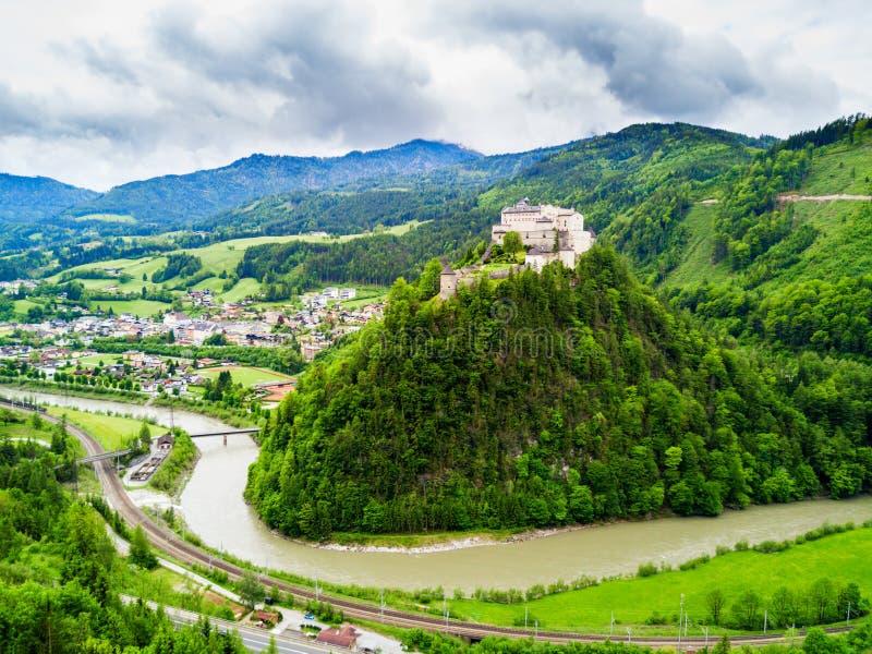 Hohenwerfen城堡鸟瞰图 图库摄影
