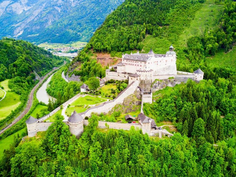 Hohenwerfen城堡鸟瞰图 免版税图库摄影