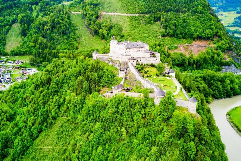 Hohenwerfen城堡鸟瞰图 库存图片