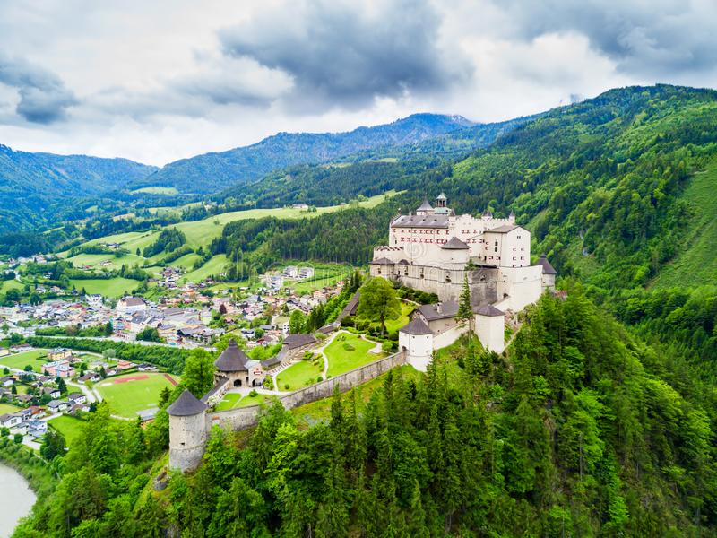 Hohenwerfen Castle aerial view. Hohenwerfen Castle or Festung Hohenwerfen aerial panoramic view. Hohenwerfen is a medieval rock castle overlooking the Austrian stock images