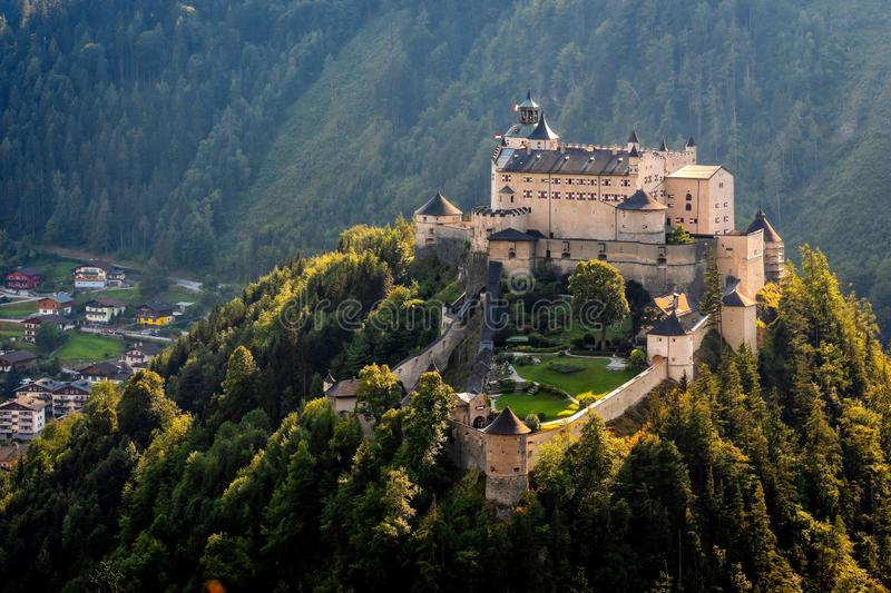 Hohenwerfen castle and fortress above the Salzach valley at Werfen on Austria. stock photos