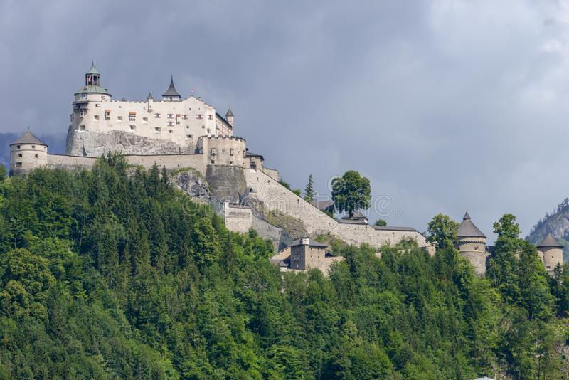 Hohenwerfen castle and fortress at Werfen on Austria stock images
