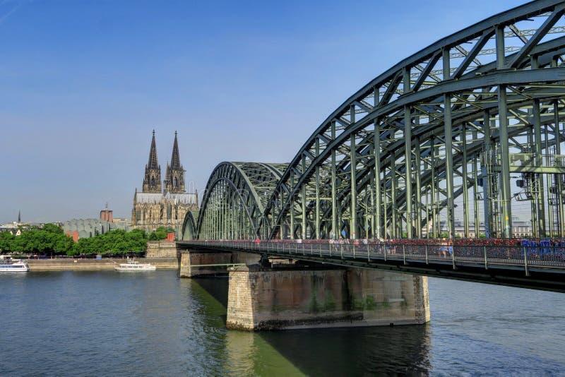 Hohenzollern Bridge in Cologne, Germany. stock photo