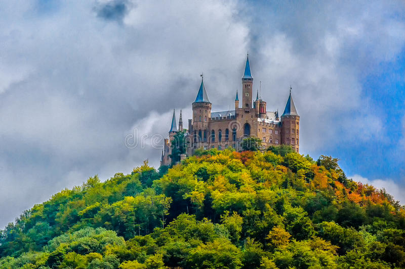 Hohenzollern Castle. Is the ancestral seat of the imperial House of Hohenzollern. The third of three castles on the site, it is located atop Berg Hohenzollern royalty free stock photo
