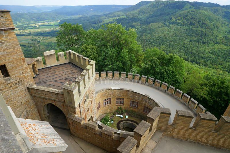 Hohenzollern Castle. Is approximately 50 kilometers (31 miles) south of Stuttgart, Germany. It is considered the ancestral seat of the Hohenzollern family stock image