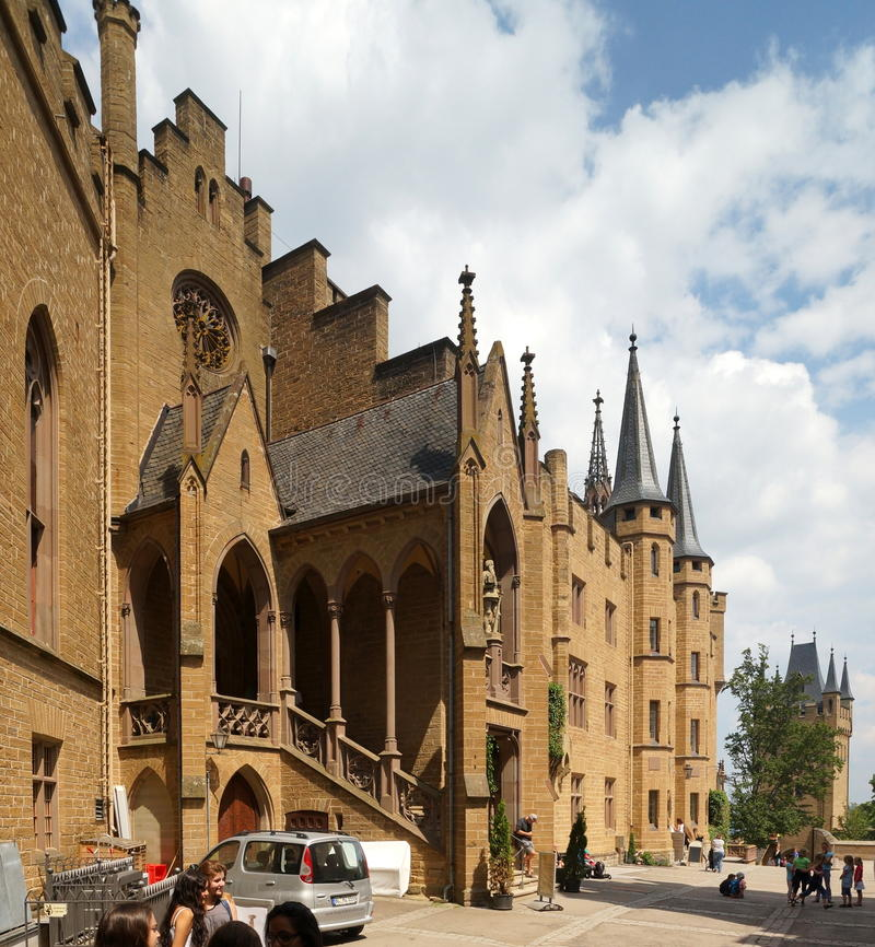Hohenzollern Castle. Is approximately 50 kilometers (31 miles) south of Stuttgart, Germany. It is considered the ancestral seat of the Hohenzollern family royalty free stock photos
