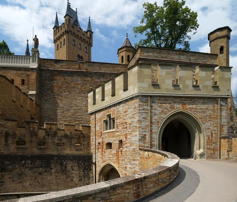 Hohenzollern Castle. Is approximately 50 kilometers (31 miles) south of Stuttgart, Germany. It is considered the ancestral seat of the Hohenzollern family stock photography