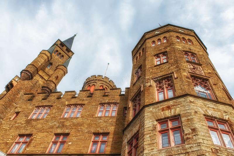 Hohenzollern castle in the Black Forest, Germany. Hechingen, Germany - August 17, 2018: The Hohenzollern Castle is the ancestral home of the princely family and stock photography