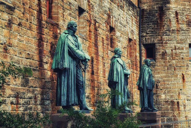 Hohenzollern castle in the Black Forest, Germany. Statues at Hohenzollern Castle Burg Hohenzollern at the swabian region of Baden-Wurttemberg, Germany royalty free stock photo