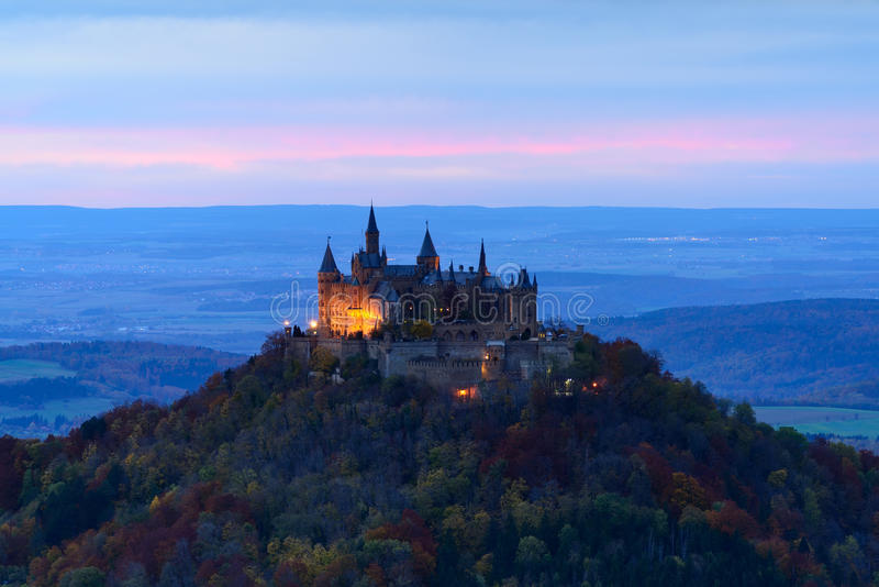 Hohenzollern Castle, Germany. Hohenzollern Castle is the ancestral seat of the imperial House of Hohenzollern. The photo is made in the evening stock images