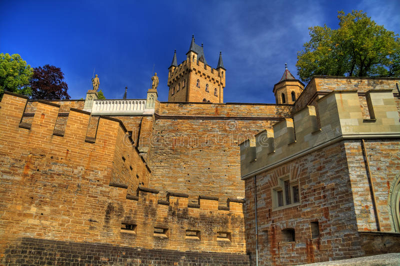 Hohenzollern castle HDR. Hohenzollern castle in HDR with clear blue sky in the background stock photography