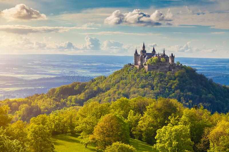 Hohenzollern Castle at sunset, Baden-Württemberg, Germany. Aerial view of famous Hohenzollern Castle, ancestral seat of the imperial House of Hohenzollern and stock photography