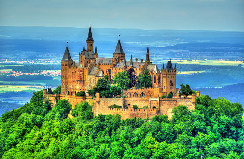 Hohenzollern Castle in the Swabian Alps - Baden-Wurttemberg, Germany. View of Hohenzollern Castle in the Swabian Alps - Baden-Wurttemberg, Germany royalty free stock image