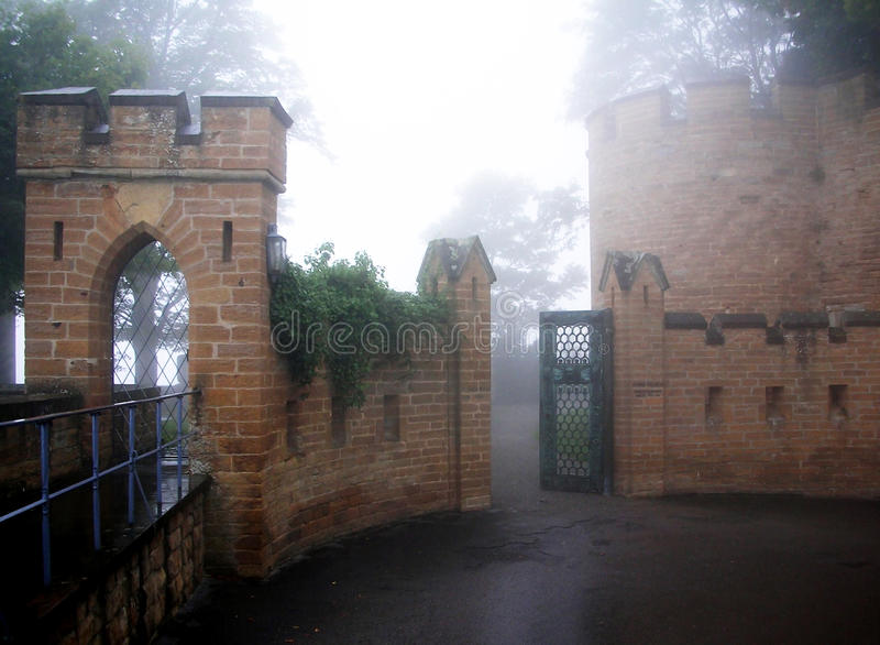 Hohenzollern castle in Swabian during autumn, Germany. Castle in the mist royalty free stock images