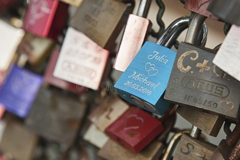 Hohenzollern railway Bridge in Cologne or famous Cologne`s Love Locks Bridge with thousands padlocks left by lovers. royalty free stock photos