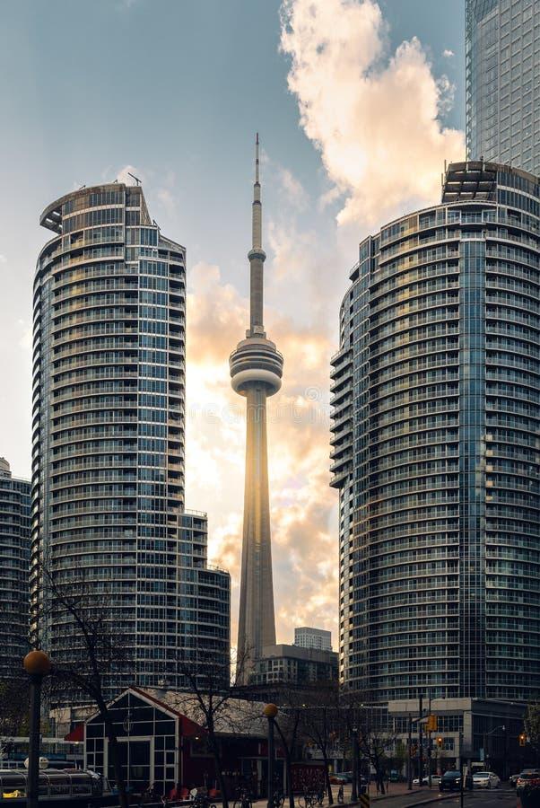 Hoher Aufstieg Torontos ragt Momente nach einem Regensturm hoch stockbild