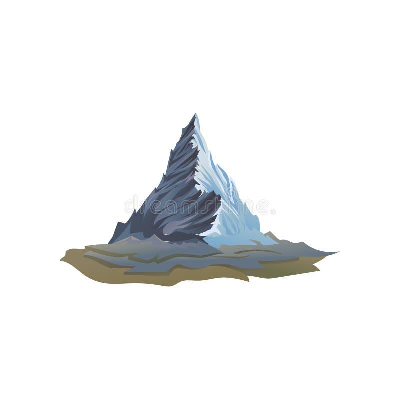 Hoher Berg aus den Grund Großer steiniger Hügel mit scharfer Spitze Flaches Vektorelement für Promoplakat oder -flieger für Touri lizenzfreie abbildung