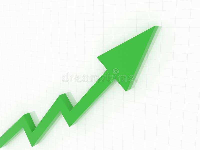 hoher finanziellpfeil mit Gitterweiß backgroud stock abbildung