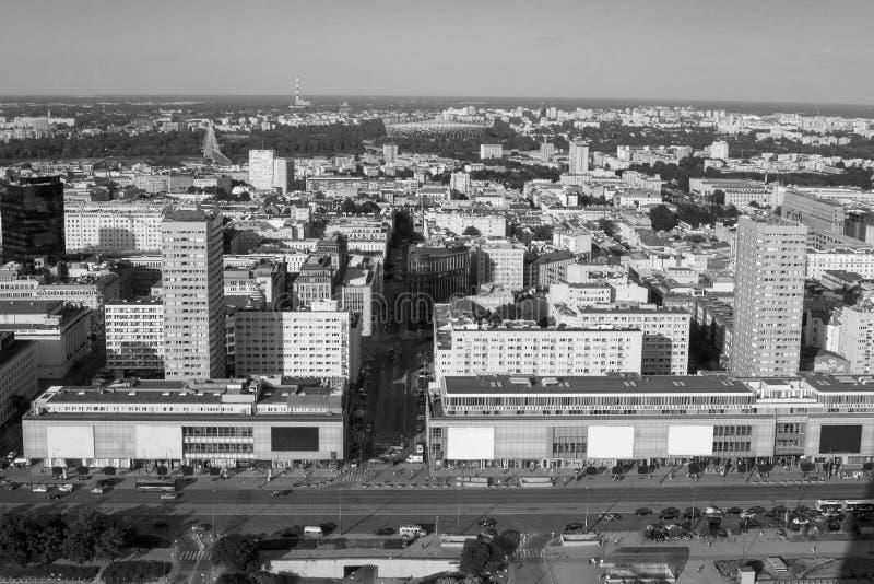 Hoher Gesichtspunkt zur Warschau-Mitte lizenzfreie stockfotos