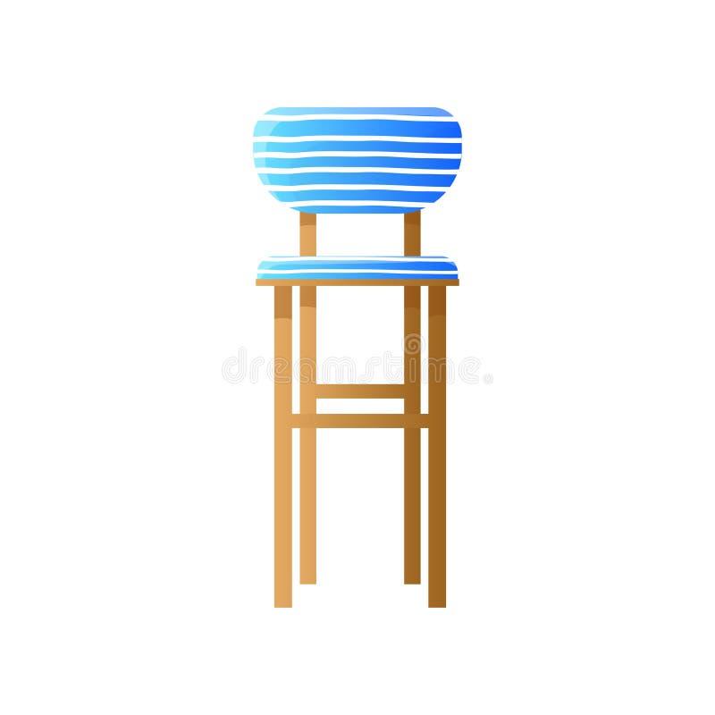Hoher hölzerner gepolsterter Stuhl in abgestreiftem blauem Entwurf lokalisiert auf Weiß vektor abbildung
