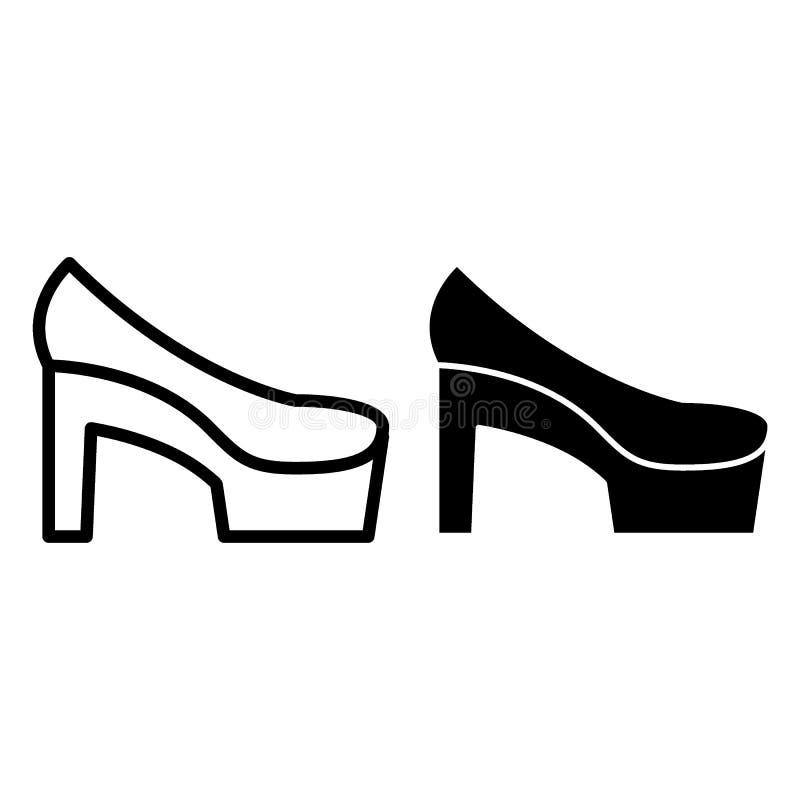 Hoher Hügel beschuht Linie und Glyphikone Schuhevektorillustration lokalisiert auf Weiß Hochzeitsschuhentwurfs-Artdesign stock abbildung