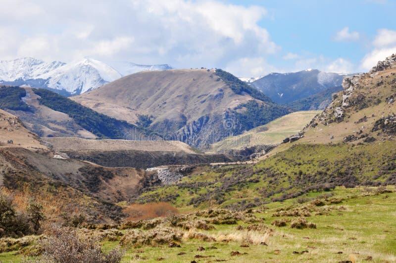 Hoher Land-Bauernhof am Schloss-Hügel, Neuseeland stockbilder