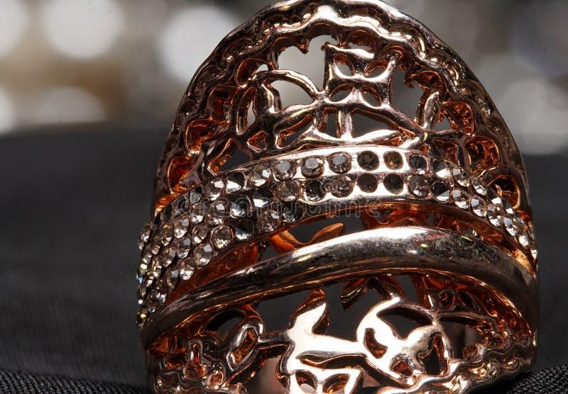 Hoher Wert-Edelstein-Steinzubehör, Gold, Kupfer, Diamant, Ring stockbilder
