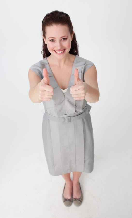 Hoher Winkel einer Geschäftsfrau mit den Daumen oben stockbilder