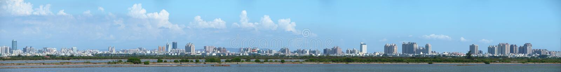 Hohes Auflösung-Panorama-Bild der Tainan-Stadt lizenzfreies stockbild