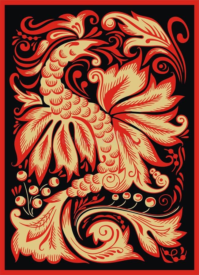 Hohloma. Dragão vermelho ilustração royalty free