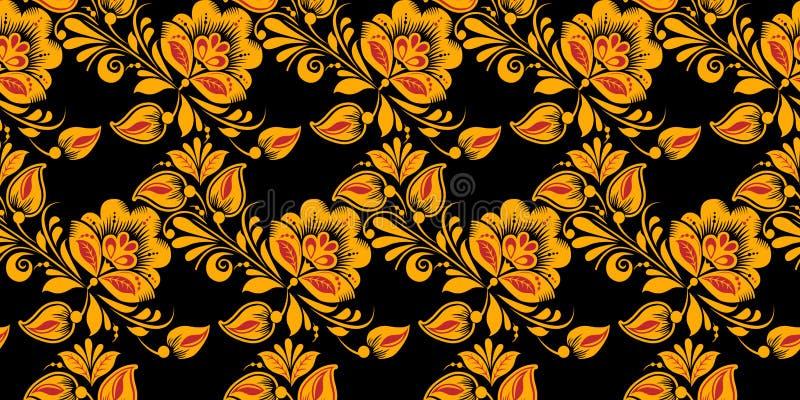 Hohloma het schilderen in zwarte, rode en gouden kleuren royalty-vrije illustratie