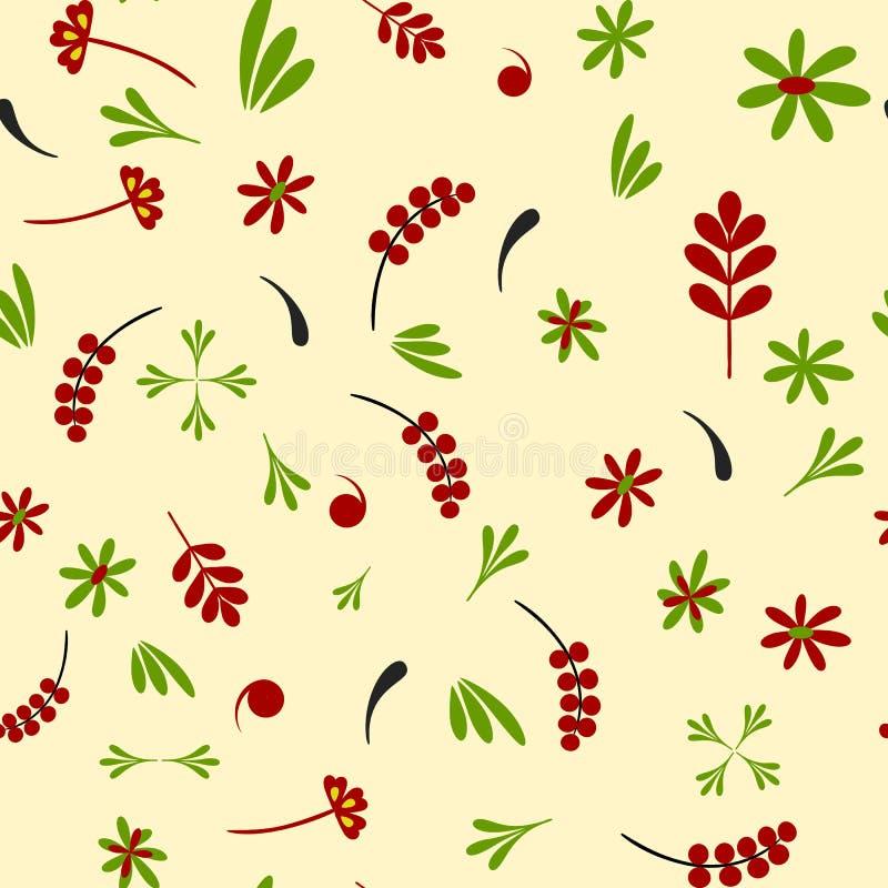 Hohloma-röd gräsplan för sömlös modell vektor illustrationer
