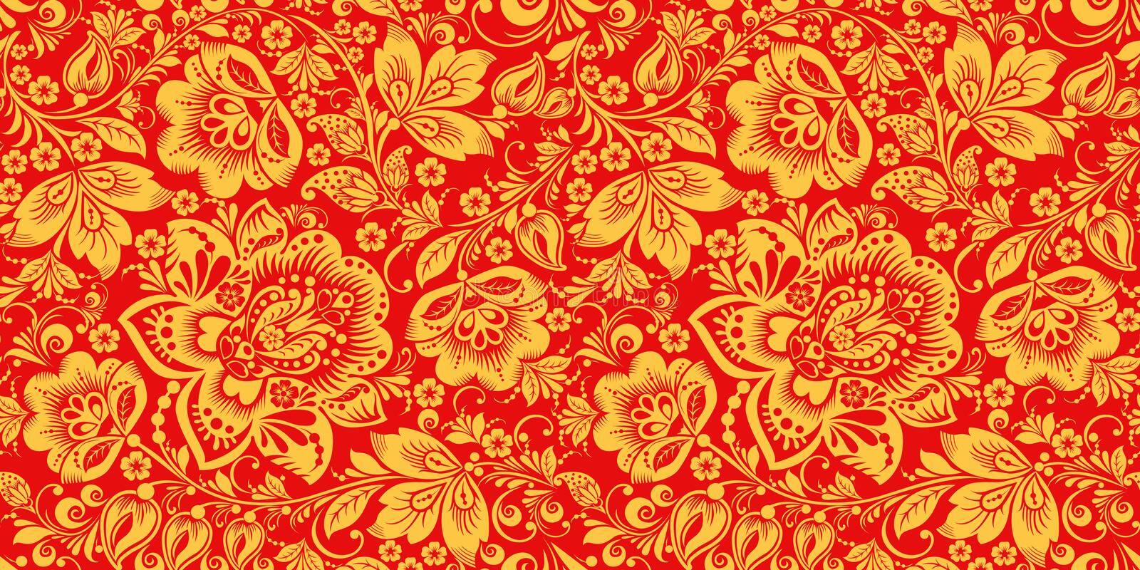 Hohloma in red and gold colors seamless pattern vector illustration