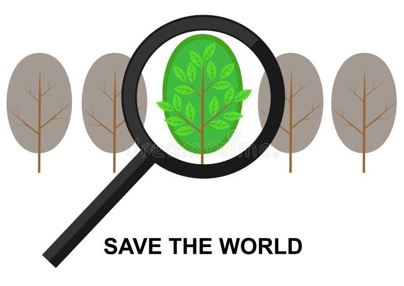 Hohlraumbildung der Lupe auf einem grünen Baum stock abbildung