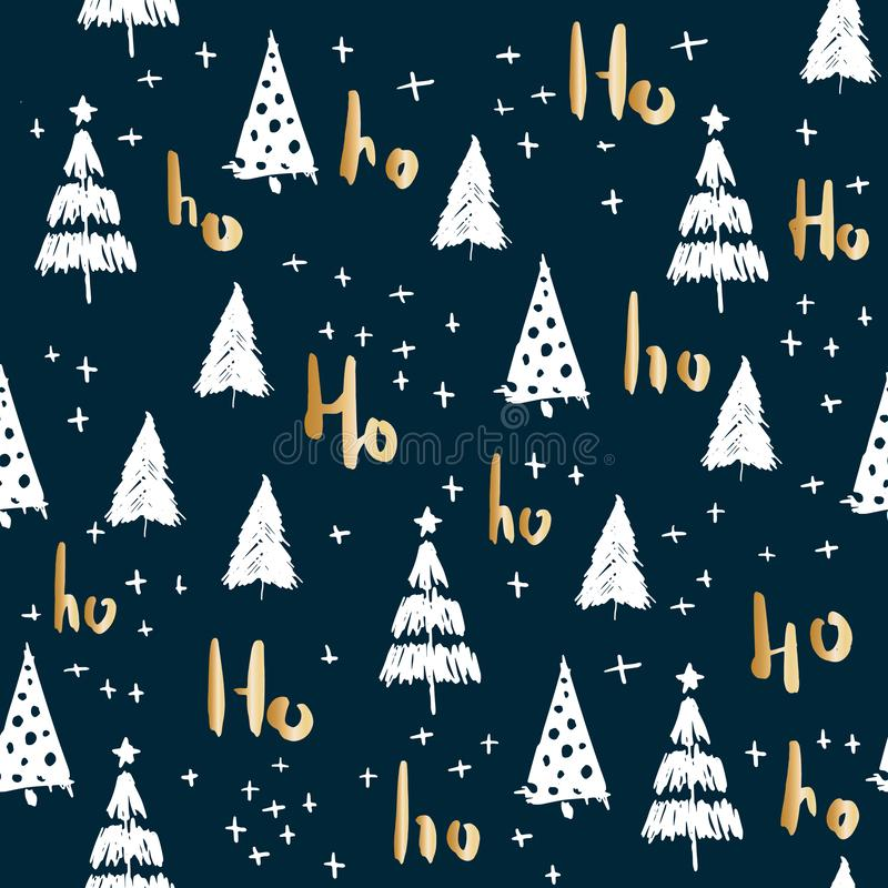 Hohoho and christmas tree seamless pattern handdrawn vector illustration