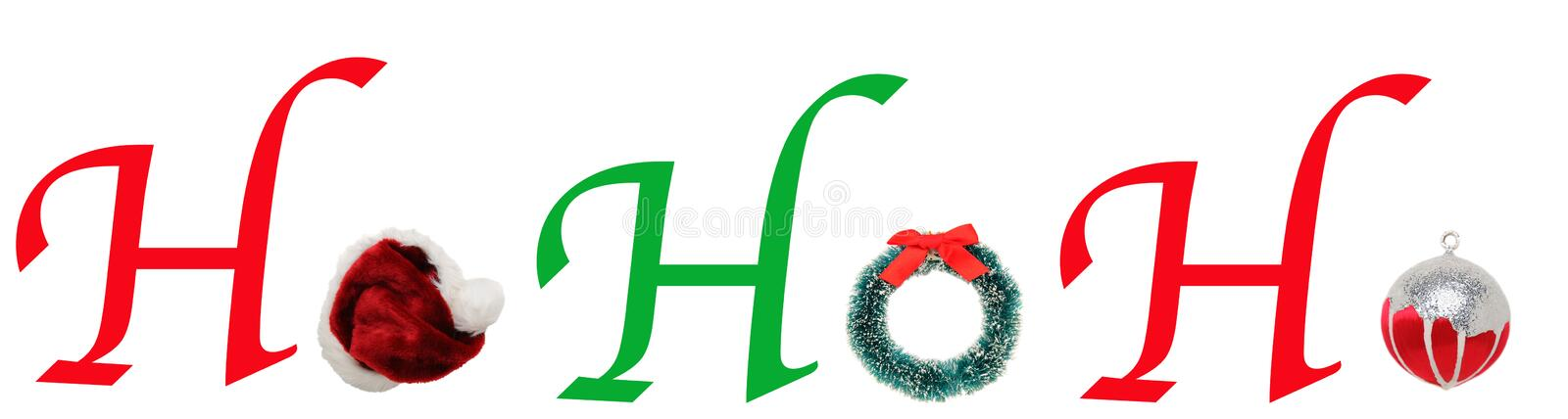 HoHoHo with Christmas Wreath, Hat, ornament vector illustration