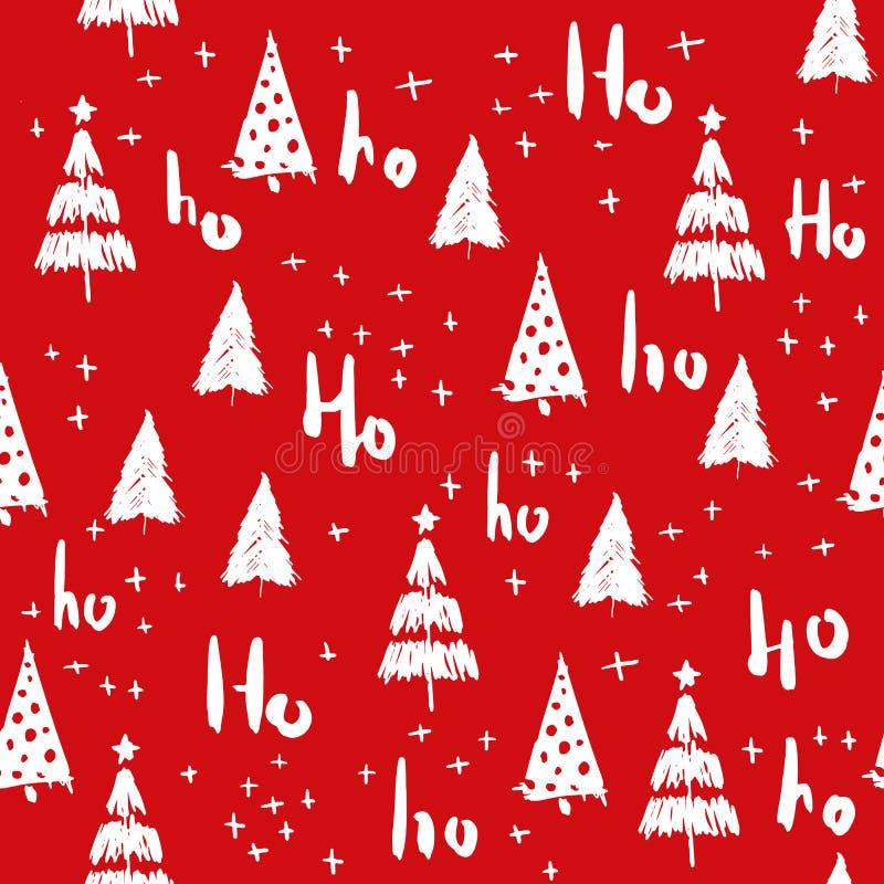 Hohoho et modèle sans couture d'arbre de Noël tiré par la main illustration libre de droits