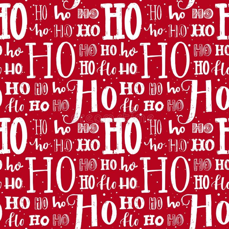 Hohoho modell, Santa Claus skratt Sömlös bakgrund för juldesign Röd textur för vektor med vitt handskrivet stock illustrationer