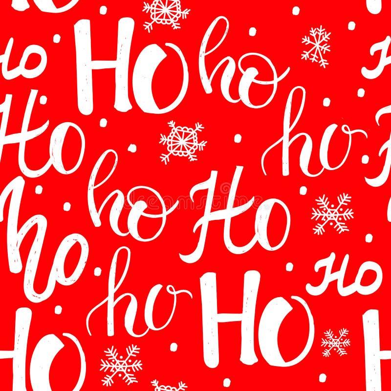 Hohoho modell, Santa Claus skratt Sömlös textur för juldesign Röd bakgrund för vektor med handskrivna ord stock illustrationer