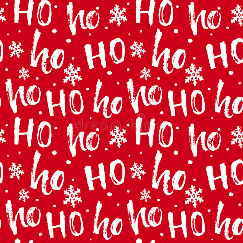 Hohoho pattern, Santa Claus laugh. Seamless texture for Christmas design. Vector red background with handwritten words ho royalty free illustration