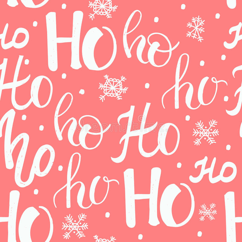 Hohoho pattern, Santa Claus laugh. Seamless texture for Christmas design. Vector red background with handwritten words ho stock illustration