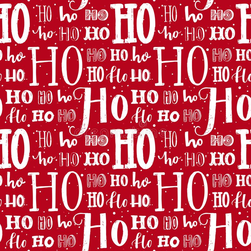 Hohohopatroon, Santa Claus-lach Naadloze achtergrond voor Kerstmisontwerp Vector rode textuur met witte met de hand geschreven stock illustratie