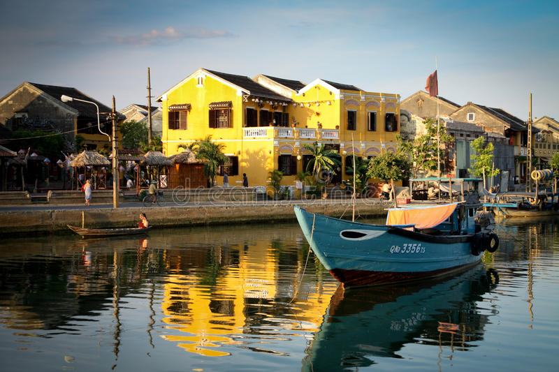 Hoi An. View on the old town of Hoi An from the river royalty free stock photography