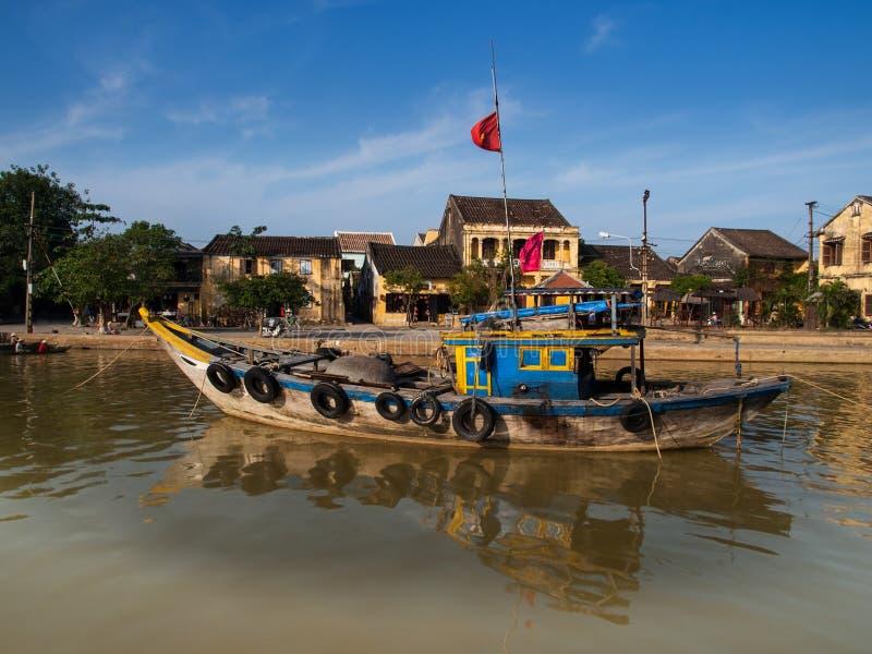 Hoi An Ancient Town (orilla del río), Vietnam. Sitio del patrimonio mundial de la UNESCO. foto de archivo libre de regalías