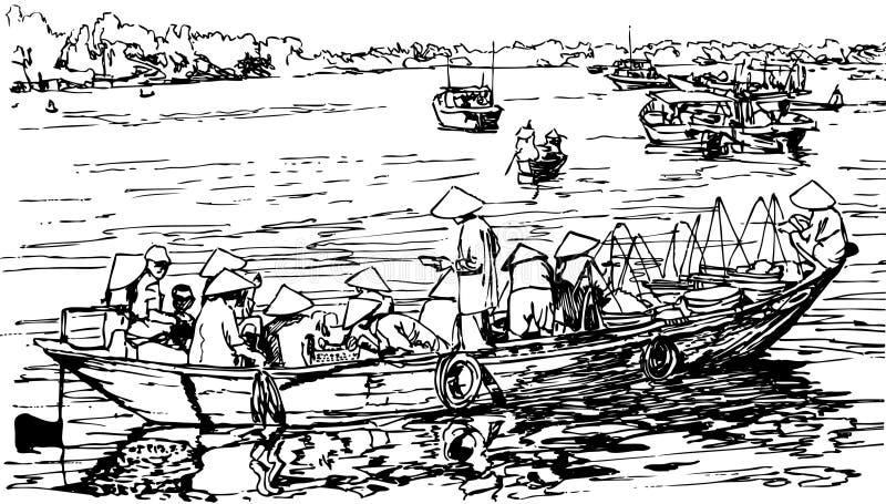Hoi een haven in Vietnam royalty-vrije illustratie